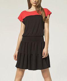 Look at this #zulilyfind! Black Color Block Blouson Dress #zulilyfinds