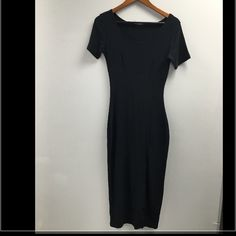 Slim Stretchy Black BodyCon Dress! All Black Stretch To Fit Body Con Midi Dress! Looks Cute On!! Comfy For Any Event! Fits Size Medium-Large!  Great Condition! Dresses Midi