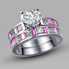 4-prong Solitaire Heart Cubic Zirconia 925 Sterling Silver White Gold Plated Wedding Ring Set
