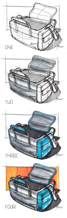 Sketch of a GYM bag by designer Spencer Nugent