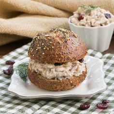 This Tuna, Cranberry, Pecan Salad Sandwich prevents a hum-drum lunch or dinner with the addition of crunchy nuts and sweet, chewy dried fruit. Shake it up with your favorite add ins.