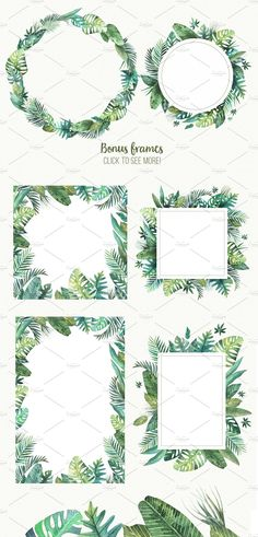 Set of high quality handpainted watercolor tropical leaves and elements. Included 6 seamless patterns and 6 frames of different shapes. All elements are bright and juicy and combined with each other.  #aloha #art #set #background #banana #design #exotic   Buy for $15 → https://crmrkt.com/11vqkz