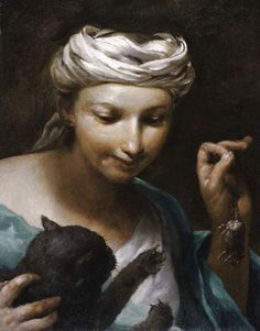 Girl with a cat Painting by Giuseppe Maria Crespi(lo Spagnuolo) | Oil Painting