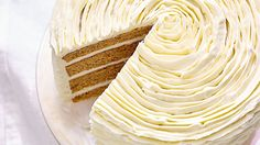 Ruffles of white chocolate-cream cheese frosting take this carrot cake to the next level. Seen from above, it looks like a rose. Make this cake a day or two ahead for the best flavor. Best Cake Flavours, Cake Flavors, White Chocolate Frosting, Chocolate Cream Cheese, Healthy Cake Recipes, Dessert Recipes, Sweet Recipes, Yummy Recipes, Recipies