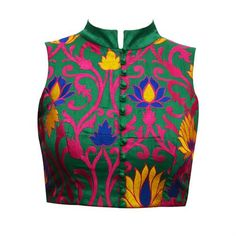 Green silk multi color embroidery blouse.. get it at myTailor. in