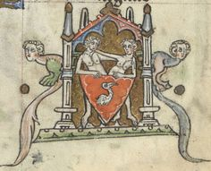 The zodiac symbol for May is Gemini, represented by a pair of human twins. In Additional MS 36684, the twins are — as was typical — partially nude, their lower halves modestly covered by a large red shield marked by a white bird (perhaps a pelican?). They embrace congenially — everyone is in a good mood in May, when the weather is nice!