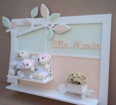 Frame in MDF with wood appliqués and chenille--- I'd like to do this for my nieces Baby Crafts, Diy And Crafts, Baby Frame, Baby Kit, Box Frames, Kids Decor, Shadow Box, Baby Room, Diy Gifts