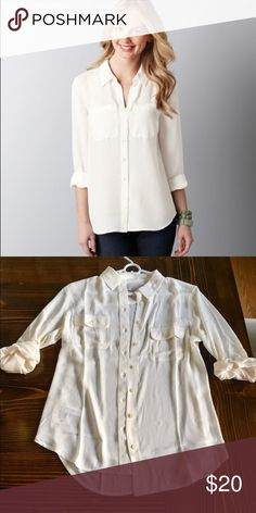 UNWORN Ann Taylor LOFT Utility Blouse Size Small. Unworn. Sleeves can be worn long or short. LOFT Tops Button Down Shirts