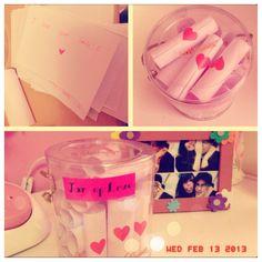 #DIY Jar of Love ❤ mason jar full of rolled up notes of reasons you love him @Alli Rense Rense Becker
