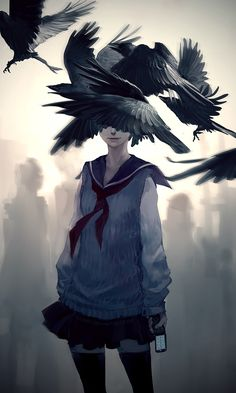 Modern day reinterpretation of Edgar Allan Poe's The Raven by yuumei http://www.yuumei.deviantart.com/