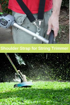 Attach a shoulder strap to your weed eater in order to distribute the weight evenly and save your arms and back. Reel Lawn Mower, Push Lawn Mower, Grass Cutter, Yard Tools, Hobbies And Crafts, Landscape Design, Weed, Shoulder Strap, Arms