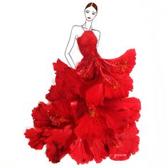 I love this artist. She takes flowers and makes them into dress illustrations. Grace Ciao - Red Hibiscus