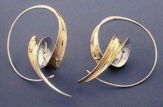 Loop & Drop Earrings by Nancy Linkin: Silver & Gold Earrings available at www.artfulhome.com