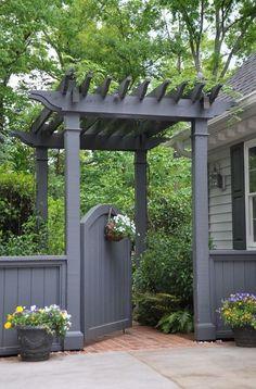 grey garden gate pergola