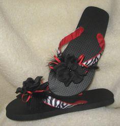 Black & White Zebra Striped Designer Flip Flops by JustImagine1, $18.00