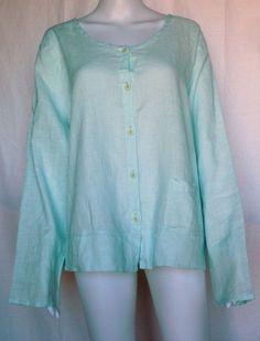 FLAX UNDERFLAX 2/3 Shirt, Sky Blue Linen, L, Sleepwear / Blouse, NWOT #Flax #Sleepshirt