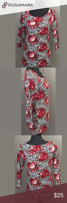 """Rafaella Studio small 3/4 sleeve red floral top NWT Rafaella Studio size small 3/4 sleeve scoop neck, red multi color floral top. 100% cotton. Bust 16"""" armpit to armpit. Length 25"""" shoulder to hem. Sleeve 18 1/2"""". Measurements are approximate. MSRP $43 Rafaella Tops"""