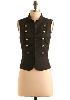 At Attention Vest - Black, Solid, Buttons, Casual, Military, Sleeveless, Fall, Menswear Inspired, Short