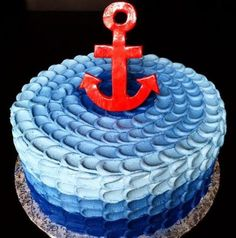 A chocolate on chocolate navy ombré petal cake for a nautical first birthday! Nautical Birthday Cakes, Nautical Cake, First Birthday Cakes, Birthday Parties, Baby Shower Cakes, Navy Cakes, Pink Cakes, Anchor Cakes, Petal Cake
