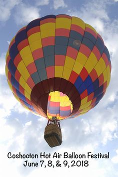 Fly with us during the 2018 Annual Coshocton Hot Air Balloon Festival on June & Coshocton Ohio, Carnival Rides, Fun Events, Hot Air Balloon, Balloons, June, Hot Air Balloons, Air Balloon, Balloon