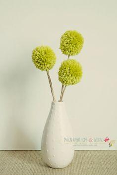 Yarn Pom Pom Flowers / Billy Bobs / Craspedia Floral Arrangement for Home or Wedding - Set of 3 Small in Kiwi Green. $6.50, via Etsy.