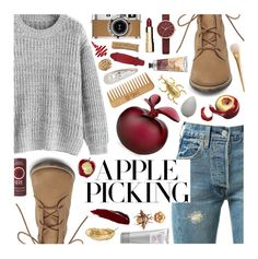 """""""Apple Picking (Contest Entry)"""" by mormon-girl ❤ liked on Polyvore featuring Skagen, Steve Madden, Levi's, Lalique, Clarins, Oscar de la Renta, Hermès, The Body Shop, beautyblender and Laura Mercier"""