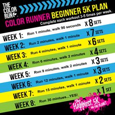 8-week training plan for beginners to a 5k - comes from the people who put on The Color Run!!