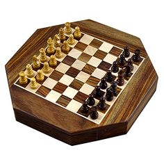 Magnetic Octangle Shape Chess Pieces Set and Wooden Board Travel Games with Storage 9 Inches by RoyaltyRoute *** Find out more about the great product at the image link.