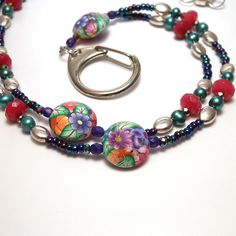 Polymer Clay Beaded Id Badge Lanyard -Love these bright colors.
