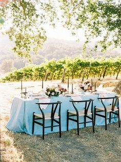 Mid Century Modern Meets Farmhouse Style for this Central Coast Winery Wedding Reception in Blue and Black Barn Wedding Photos, Wedding Shoot, Blue Wedding, Wedding Reception, Wedding Ideas, Wedding Dresses, Rustic Bouquet, Rustic Flowers, Linen Rentals