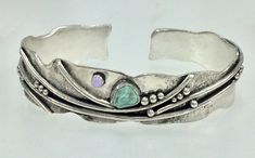 Argentium Sterling Silver with stablized Sleeping Beauty Turquoise rough and 3mm Rainbow Moonstone cabochon