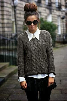 cable knit sweaters over button downs. love this whole outfit