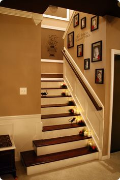 Posting for the woodwork, like the board under the hand rail, the wall at the top of the flight, etc.