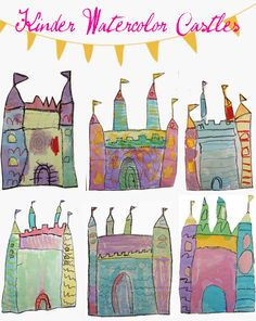 Watercolor Castle Art Project now these are too cute! grade, draw squares, rectangles, triangles, and half circles to create these lovely castles Kindergarten Art Lessons, Art Lessons Elementary, Kindergarten Drawing, Kindergarten Crafts, Chateau Moyen Age, Deep Space Sparkle, Quentin Blake, Ecole Art, Fairytale Art