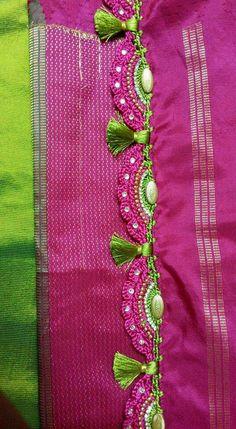 Saree Tassels Designs, Saree Kuchu Designs, Blouse Designs Silk, Designer Blouse Patterns, Beaded Embroidery, Hand Embroidery, Kanjivaram Sarees Silk, Wedding Silk Saree, Hand Designs