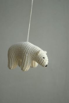 Polar bear baby mobile is made to order in ~3 weeks. These lovely flying bears will bring joy and pease to your nursery. I knit these bears from soft mixed wool yarn. Color is natural white (ivory, cream), not pure white. They are filled with natural white undied wool. Bears hang on