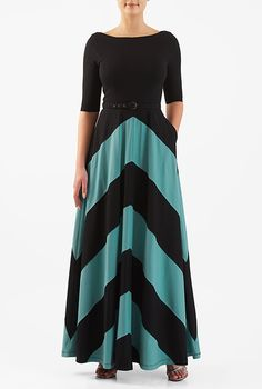 66.95 for a very comfy dress!! YES PLEASE  I <3 this Chevron stripe cotton knit belted maxi dress from eShakti