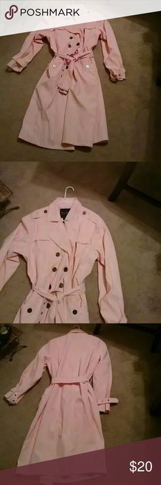 Pink Trench Coat Pink, full length, water resistant. Has a little discoloring  around collar and shoulder strap. Can be covered with a scarf.  XL fits (14-16) perfect fit Ashley Stewart Jackets & Coats Trench Coats