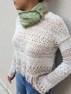 Crochet Top, Pullover, Sweaters, Accessories, Tops, Women, Fashion, Moda, Fashion Styles
