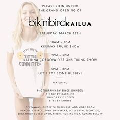 Head over to @bikinibirdkailua this Saturday March 18th for our grand opening! We'll be having trunk shows during the day and a party from 5-8pm! There will be tons of giveaways including this @sugarhighlovestoned tee! Enter to win in store on 3/18 AND here on instagram! To enter: Follow @bikinibird @bikinibirdkailua and @sugarhighlovestoned then tag 3 friends in a comment below! Must be able to pick up item at @bikinibirdkailua to qualify #bikinibird