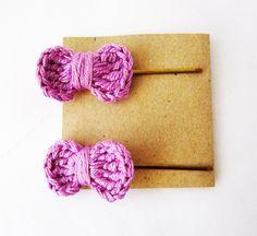 Lilac hair bow pins #hairbow #hairclip #hair #bow #crochet #accessories