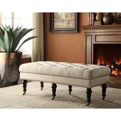 Linon 50-inch Francesca Cream Linen Tufted Bench with Espresso Legs