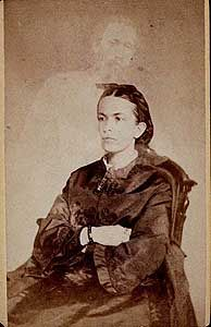 "William H. Mumler (Boston)   ""Mrs. Conant of Banner of Light. Her Brother, Charles H. Crowell""  Albumen print carte de visite, circa 1868 Find out more at: http://www.darkshadowghosttours.com/?p=198"