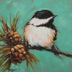 "Chickadee Painting, 6x6"" original oil painting on panel, bird paintings, bird art, paintings of Chickadees, pinecones"