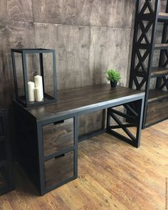 Industrial design desk with steel pipe legs and an ...