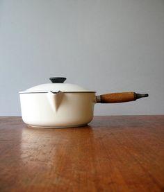 Vintage Le Creuset White Enamel Saucepan 20 by luola on Etsy