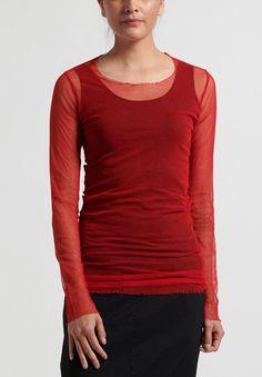 Rundholz Dip Long Cotton-Mesh T-Shirt in Red | Santa Fe Dry Goods . Workshop . Wild Life Mesh Long Sleeve, Long Sleeve Shirts, Mesh Jacket, Mesh T Shirt, Drop Crotch Pants, Red Tank Tops, Oversized Coat, Stretch Pants, Lightweight Jacket