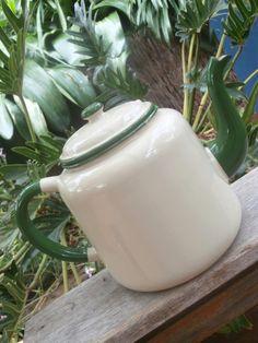 40s 50s VINTAGE CHIC Cream & Green ENAMEL WARE TEA POT Large 2.5ltr