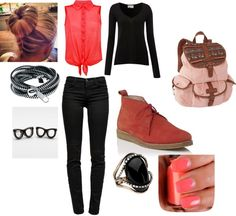 """""""Coral and Black!"""" by senior-13 on Polyvore"""