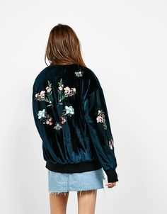 Embroidered velvet bomber jacket - Coats and jackets - Bershka Israel